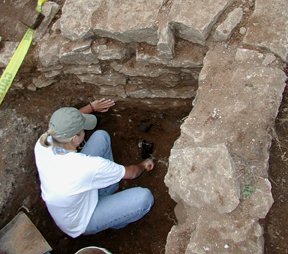 "Old privy excavation with artifacts ""in-situ"" or in place, Ashland; KAS, 2003."
