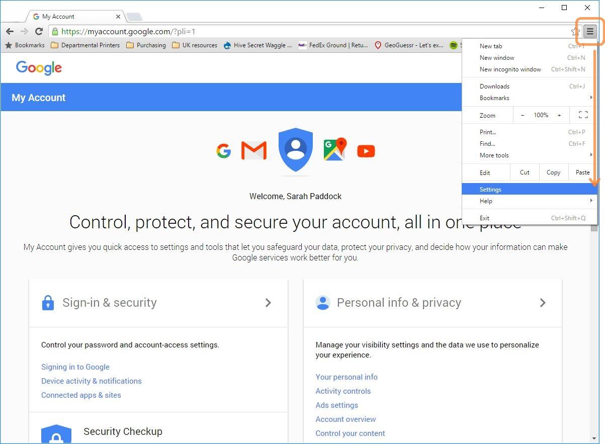 how to go into google chrome settings